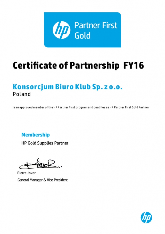 HP Certificate od Partnership