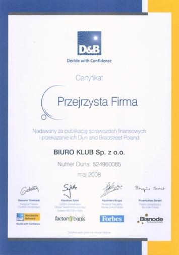 """Certyfikat """"Przejrzysta Firma"""""""